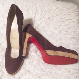 Chriatian Loubouti  brown suede cork Heels.